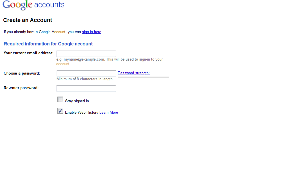 Google Account Signup