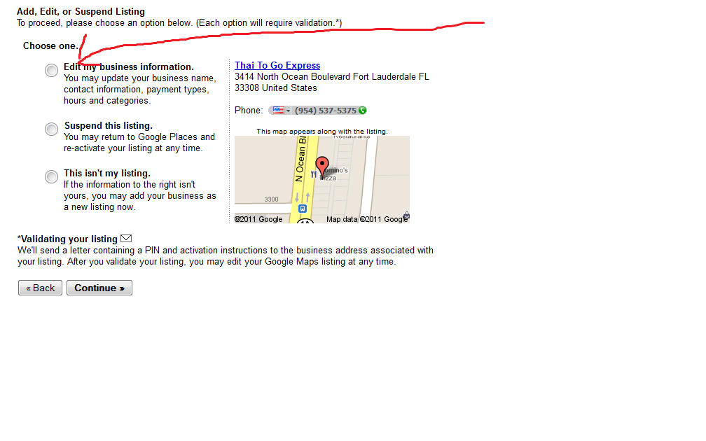 Google Places edit listing