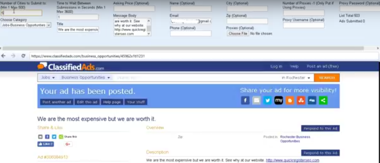 classiofiedads.com automatic classified ad posting software