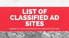 List of classified ad sites accept business opportunities affiliate links ranked by Alexa